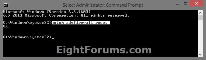 Reset Windows Firewall Command