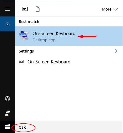 Gõ osk để tìm kiếm bàn phím ảo máy tính Windows 10