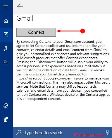 Thêm tài khoản Gmail vào ảnh Cortana 5