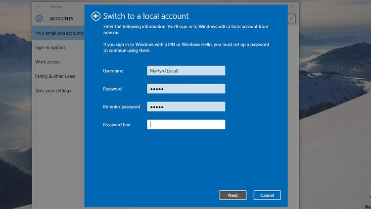 Windows 10 Local Accounts