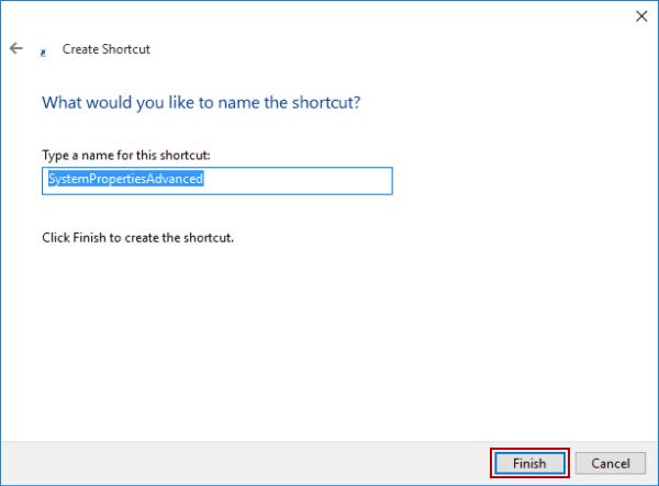 Hoàn thành tạo phím tắt advanced system settings trong windows 10