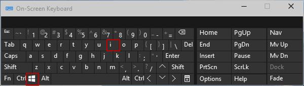 Cách mở Settings trong Win 10 bằng bàn phím